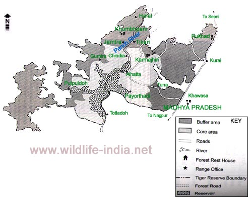Pench Wildlife Map Madhya PradheshPench Map Madhya PradeshMap of