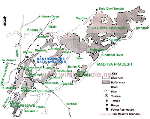 Map of RanthamboreRanthambore Tour Guide MapTourist Map